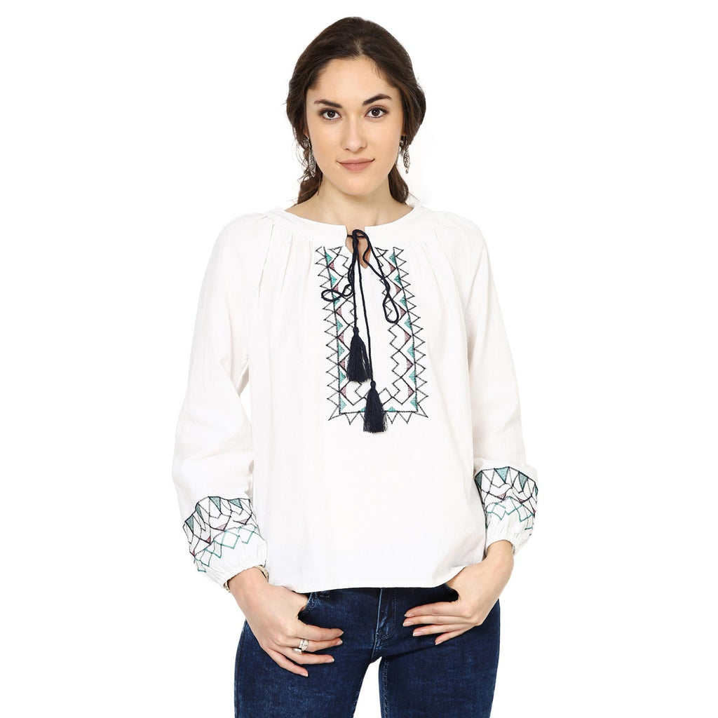 Olivia Embroidered Peasant White Top