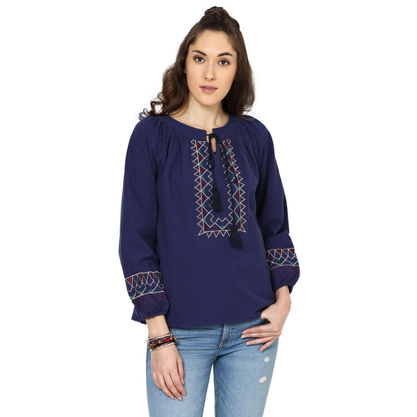 Olivia Embroidered Peasant Navy Blue Top