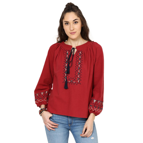 Olivia Embroidered Peasant Maroon Top