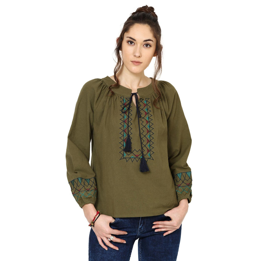 Kylie Embroidered Peasant Olive Green Top