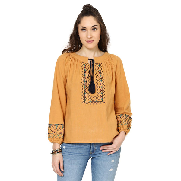 Kylie Embroidered Peasant Orange Top