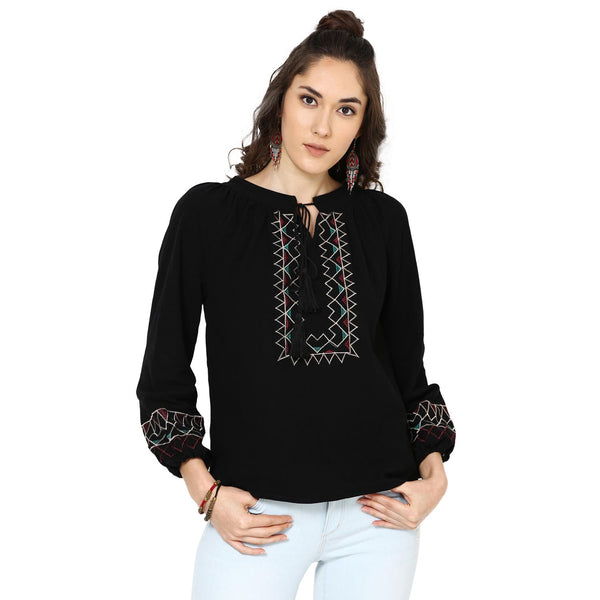 Kylie Embroidered Peasant Black Top