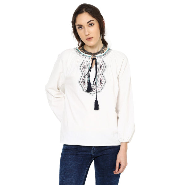 Kacey Embroidered Peasant White Top