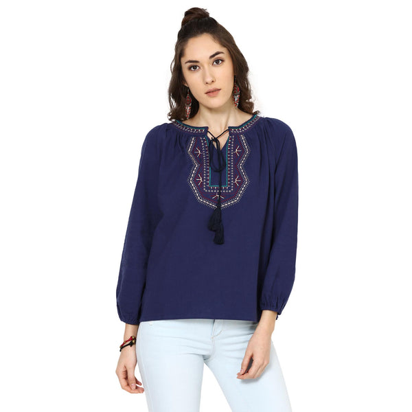 Kacey Embroidered Peasant Navy Blue Top