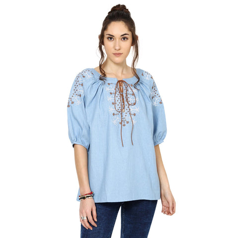 Jemma Embroidered Peasant Top