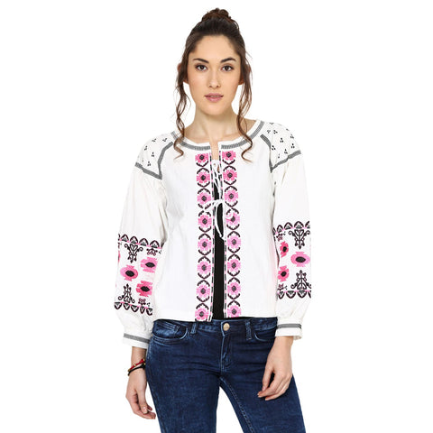 Jackline Embroidered Peasant White Top