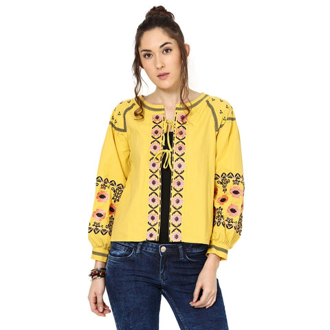Jackline Embroidered Peasant Mustard Top