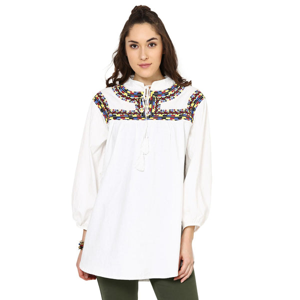 Sandra  Embroidered White Top