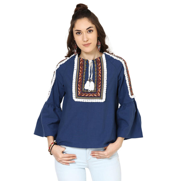Penelope Peasant Navy Blue Top