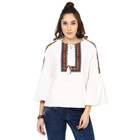 Penelope Peasant White Top