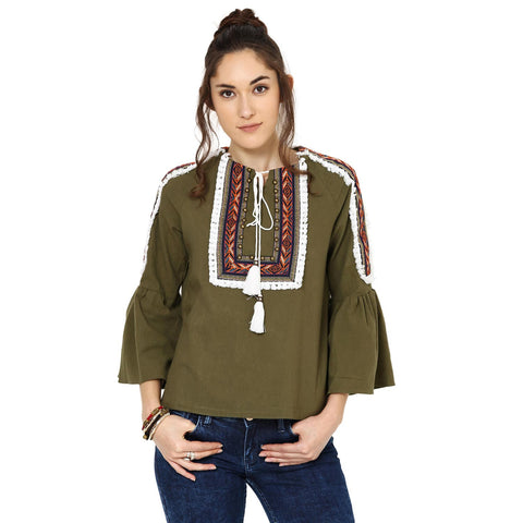 Penelope Peasant Olive Green Top
