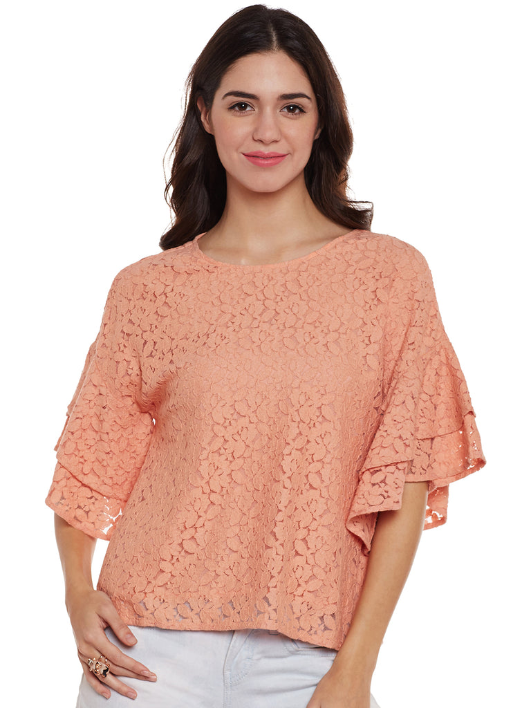 Loom Tree Peach Lace Top