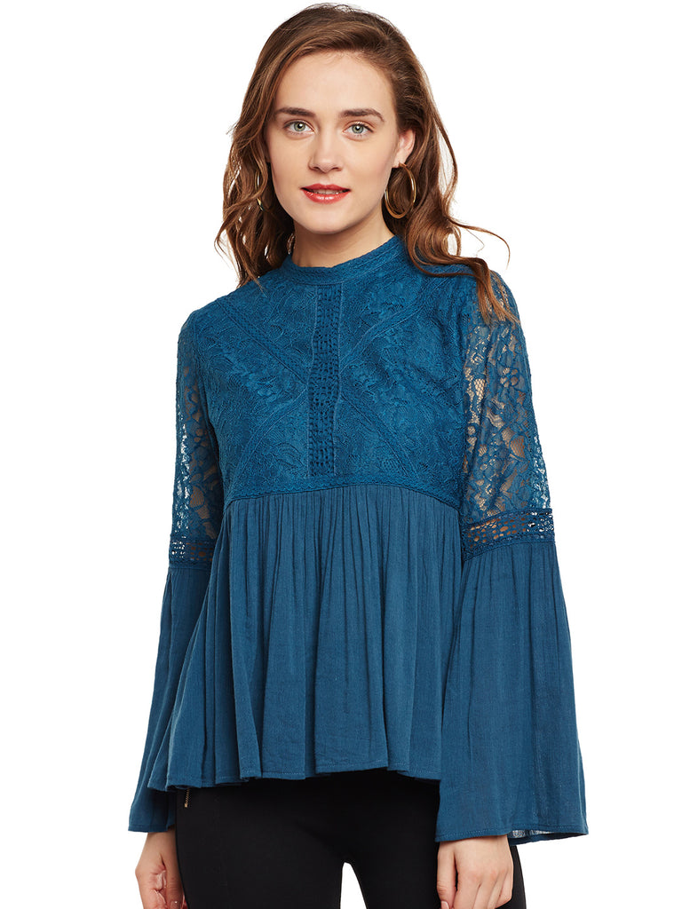 Erica Teal Lace Top