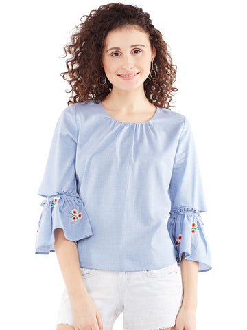 Sabrina Blue Drop Ruffle Top