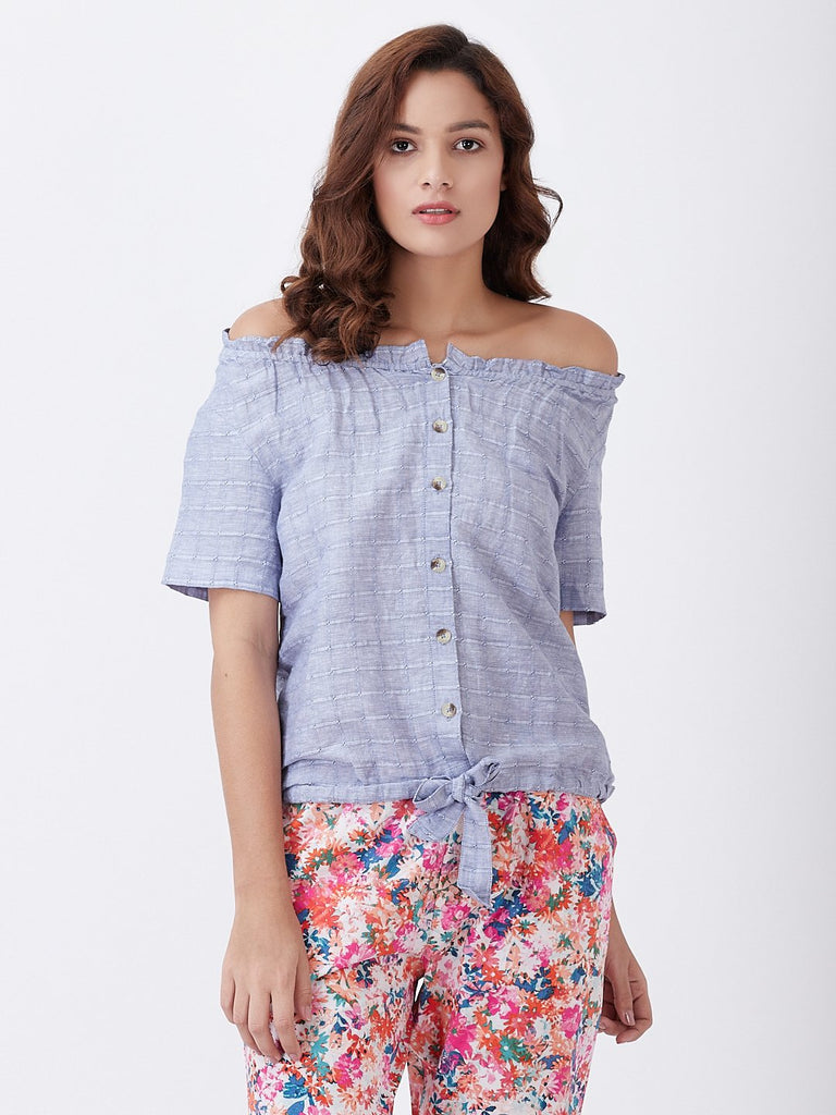 Self Jacquard Linen Top