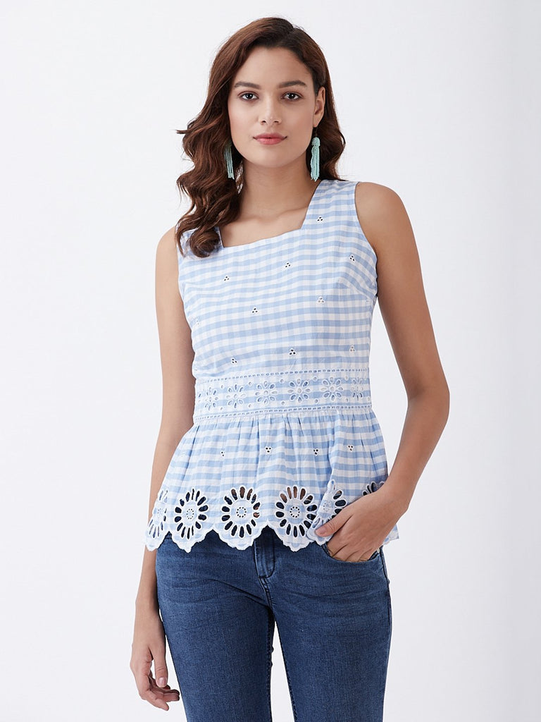 Ghingham Eyelet Pop Over Top