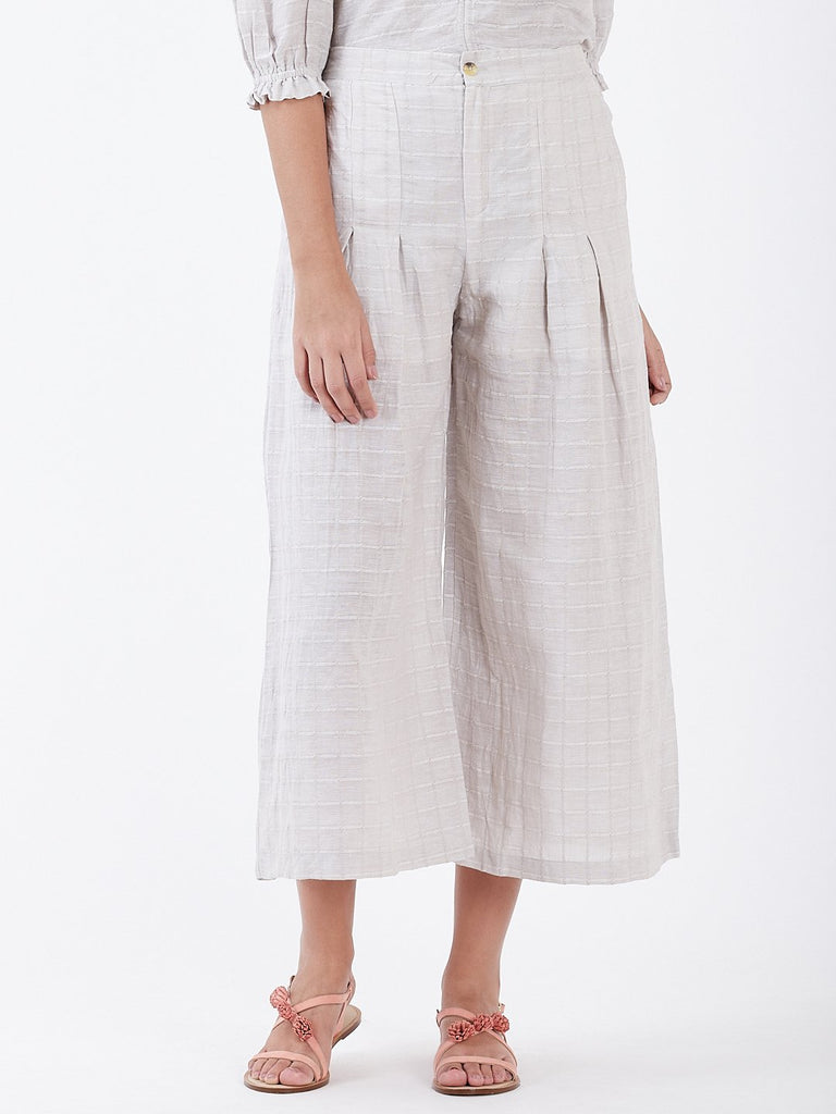 Self Jacquard Pintuck Wide Leg Pants