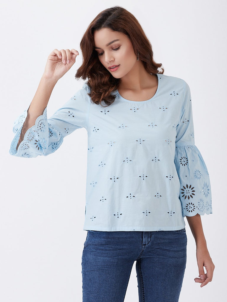 All Over Schiffli With Scallop Sleeve