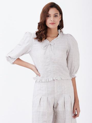 Self Jacquard Linen Ruffled Neck Drawstring Top