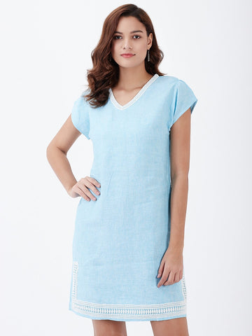 Contrast Lace Trim Linen Dress