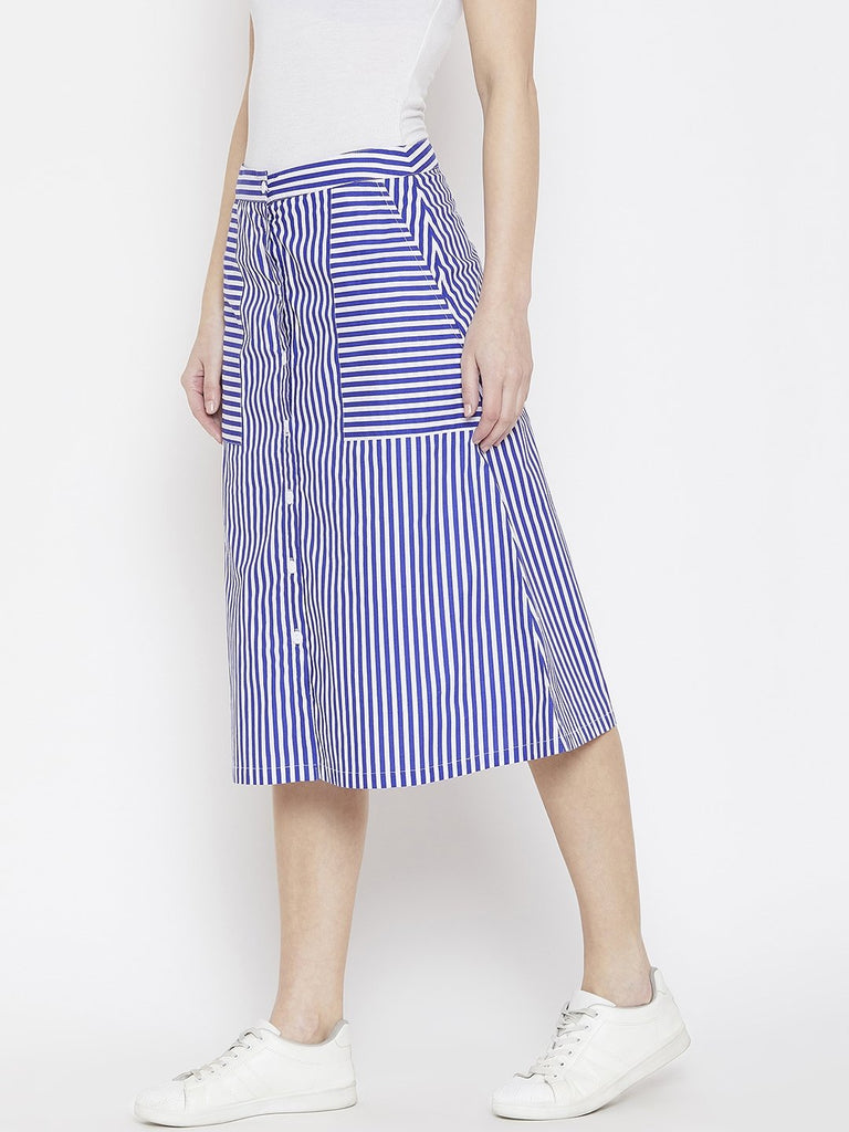 Young Stripe Button Down Skirt