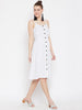 White Polka Button Down Dress