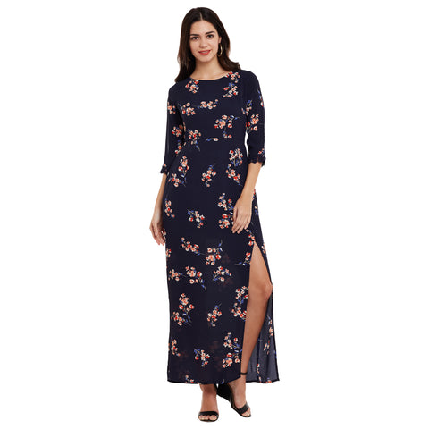 Abbie Floral Printed Maxi Dress with Front Slit and Slit Sleeves
