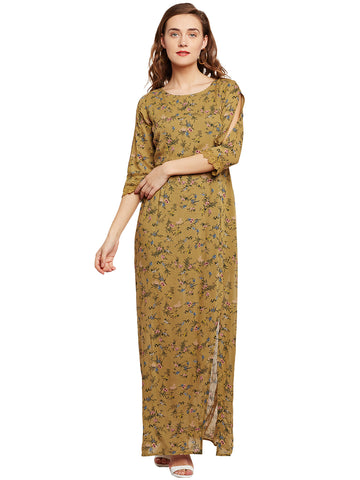 Abbie Olive Floral Print Maxi Dress with Slit at Front and Slit Sleeve