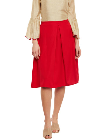 Carmel Box Pleat Knee Length Skirt