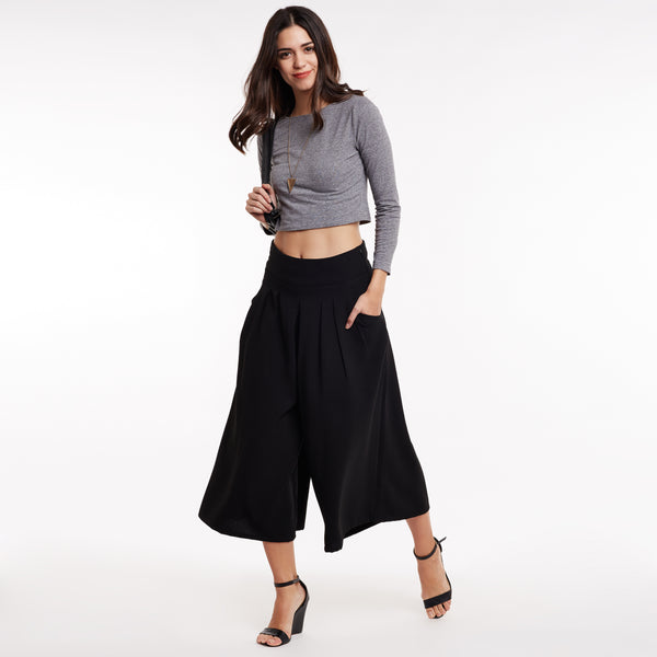 Black Solid Flared Trousers
