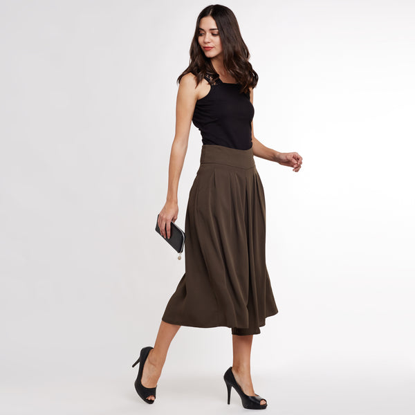 Olive Solid Flared Trousers