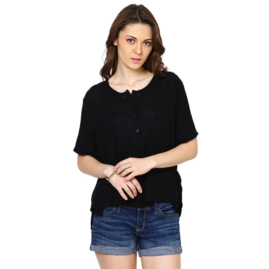 Rachel Easy Pleated Top with Lace Inserts