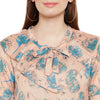 Abstract Floral Print Frill Top