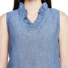 Linen Ruffle Neck Popover Top