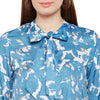 Tie Up Collar Printed Top