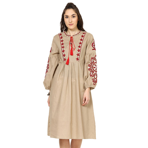 Angie Embroidered Maxi Beige Dress