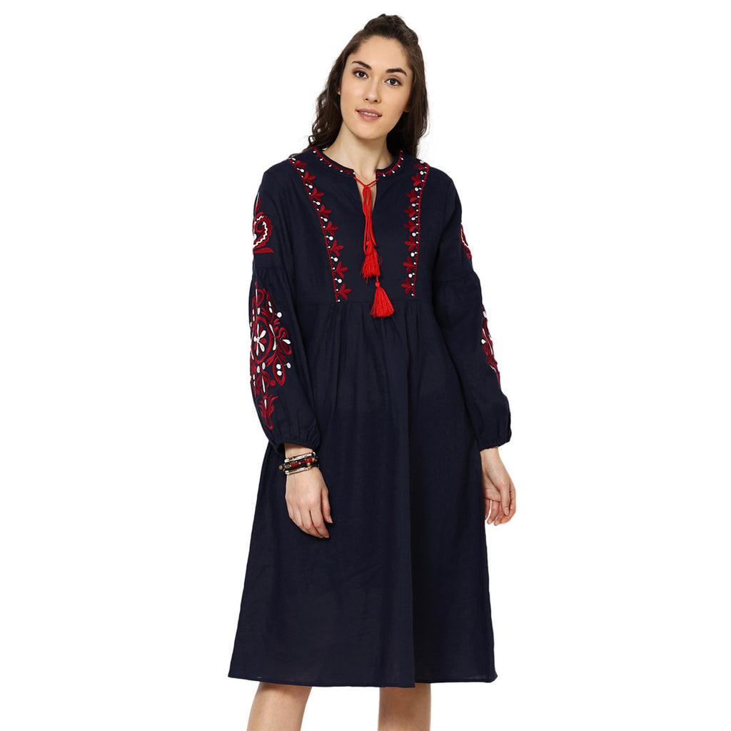 Angie Embroidered Maxi Navy Blue Dress