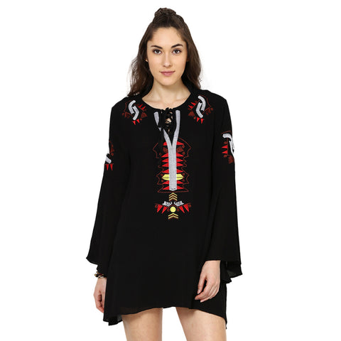 Welma Embroidered Black Dress