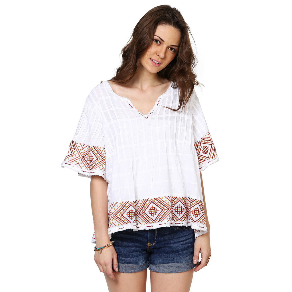 Heidi Embroidered Blouse with Raw Edge Detail