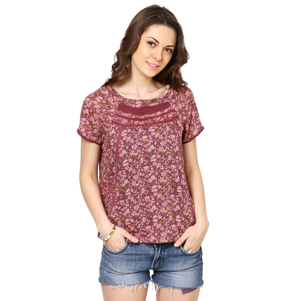 Loom Tree Printed Top With Lace Inserts