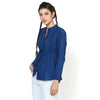 Ema Blue Pleated Top