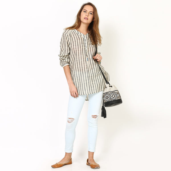 Easy Hi-Lo Thick Stripe Shirt