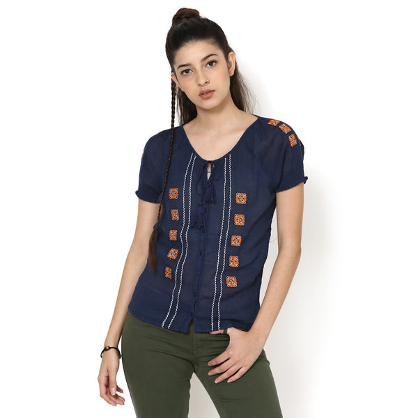 Cora Embroidered Peasant Top
