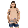 wisly Brown Linen Embroidered Top