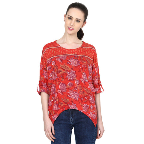 Mia Peasant Top with Curved Hem