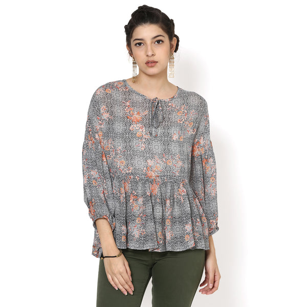 Claire Easy Printed flared Top