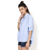 Genevieve Blue Shirt with Placket