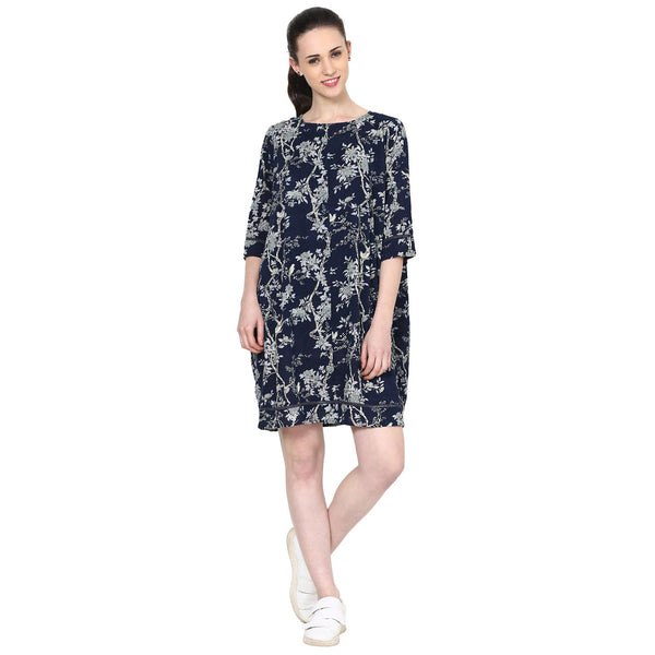 Ella Floral Printed Pleated Shift Dress