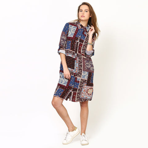 Avery Patch Print Shirt Dress