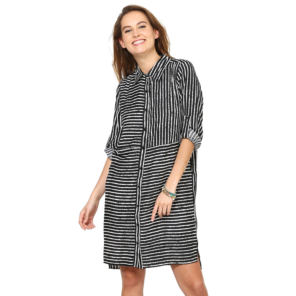 Elizabeth Striped Shirt Dress